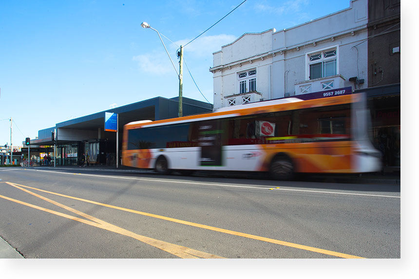 Public transport networks. Bus and Bentleigh train station, Centre Road, Bentleigh