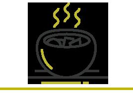43,393 Meals delivered. Illustration of a hot meal.