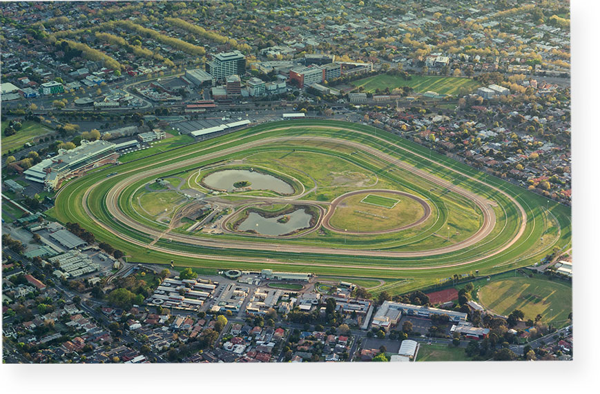 Aerial photograph of Caulfield Racecourse and the Caulfield Racecourse Reserve