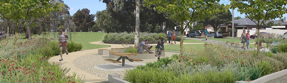 Rendering of people using Marara Road Reserve, Caulfield South